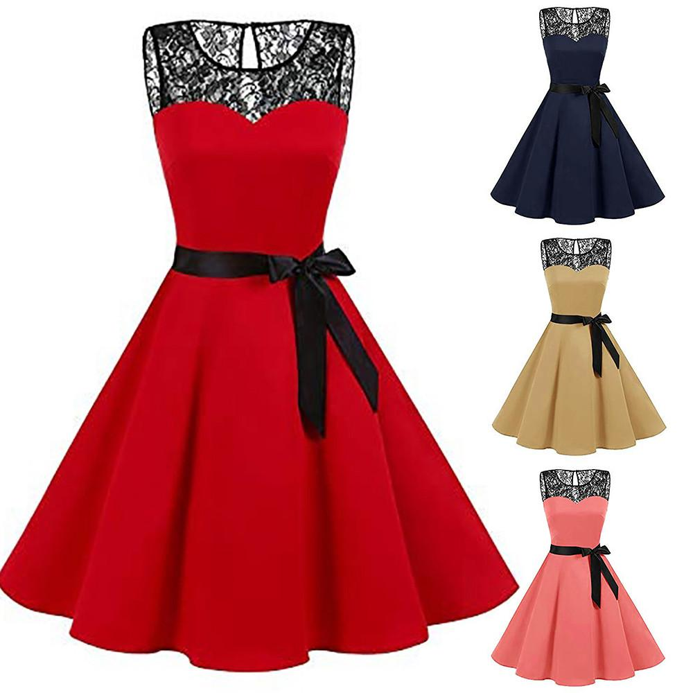 Womens Sleeveless Halter Dress Polka Dot Lace Hepburn Vintage Swing High-Waist Pleated Dress