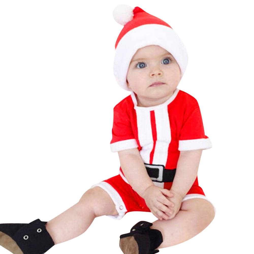 christmas santa claus costume little cute dress clothes hat for Baby boy girl
