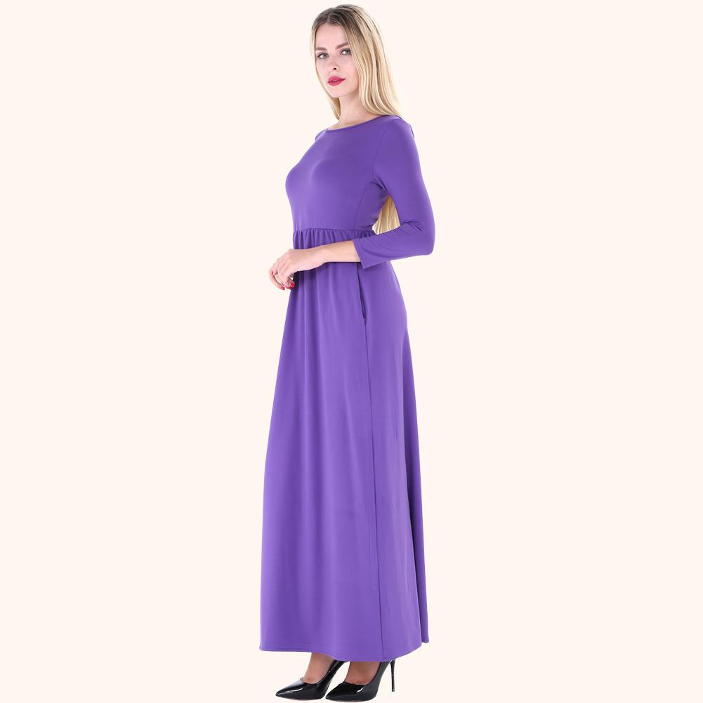 Las mujeres otoño Maxi vestido largo O cuello mangas 3/4 bolsillos ...
