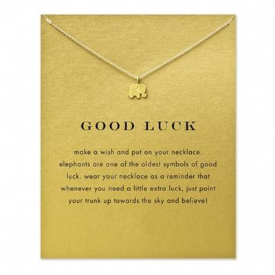 Lackingone Sparkling Good Lucky Elephant Pendant Necklace Gold Plated Clavicle Chains Women Jewelr