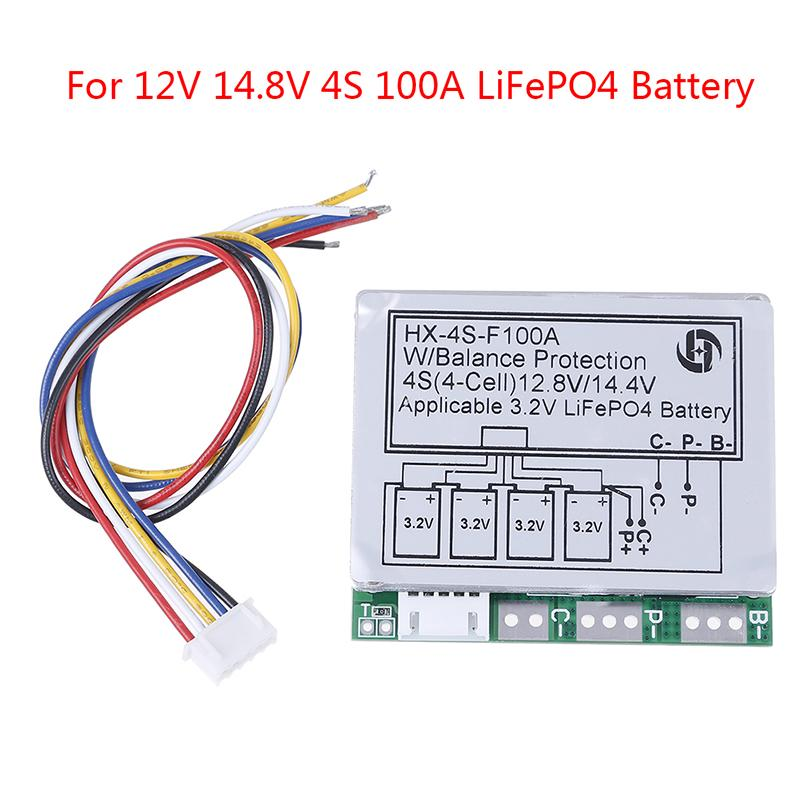 4S BMS Protection Board LiFePo4 LiFePo 12V 14.4V 100A Balance PCB Battery