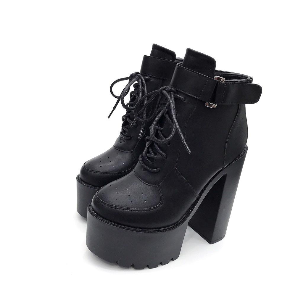Details about  /Women Shoes Block High Heel Rivet Metal Chain Zip Ankle Boots Lace Up Platform