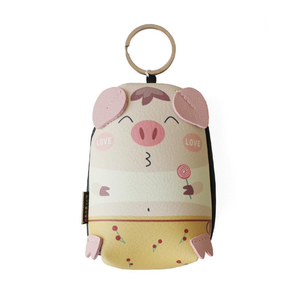 Mini Cartoon Pig Coin Bag Wallet Women Hand Pouch Purse Keyring Key Chain