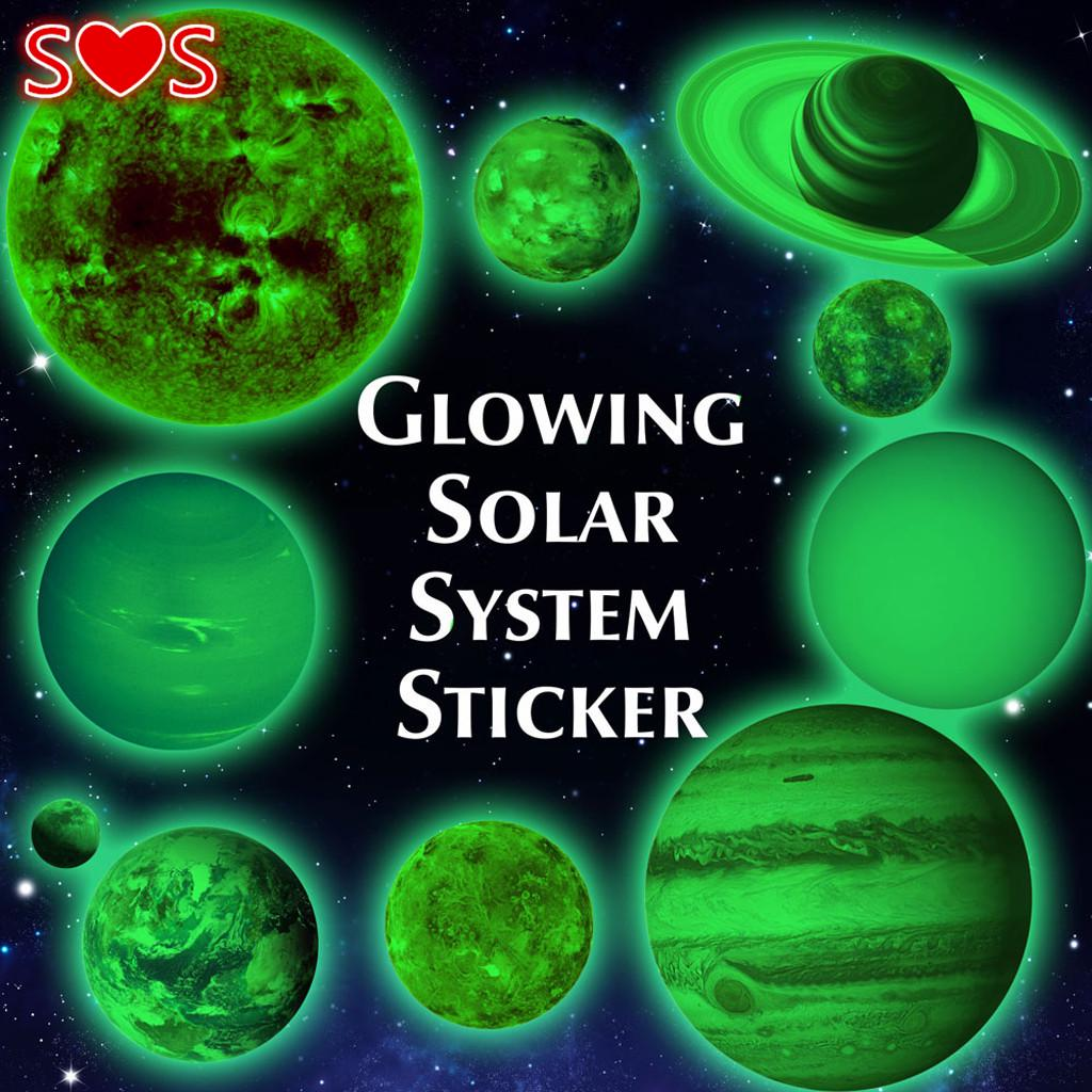 1set Luminous Nine Planets Solar System Adhesive Wall Art Sticker for Baby Room