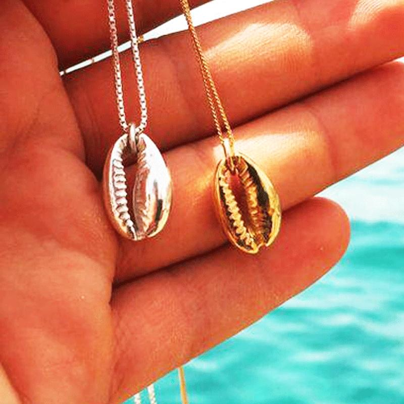 Gift Necklace Silver Necklace Friendship Jewelry Seashell Gold Shell Birthday Conch Valentine Mom Sister