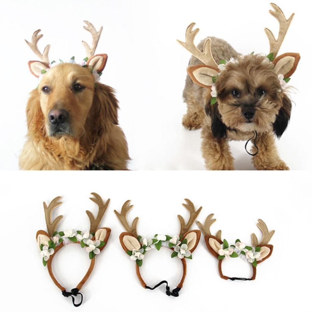 Generic Hund Welpen Haustier Katze Weihnachten Haarreif Stirnband Haarband Kopfband Rentier Design Kost/üm Schmuck