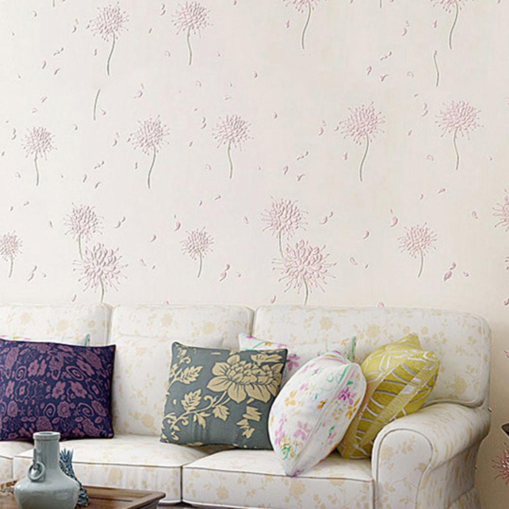 Non-woven Wallpapers 3D Wall Solid Textured Home Bedroom Living Room Art Sticker