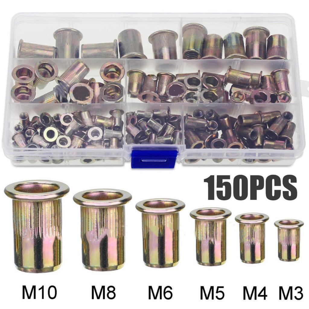 LBY 170pcs Carbon Steel Rivet Nuts,M3//4//5//6//8//10//12 Flat Head Thread Insert Nutsert Rivnut Assortment Kit,Carbon Steel Zinc-Plated Yellow