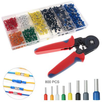 Mini Adjustable Crimping Tool Hands Pliers + 800pcs Insulated End Crimp Electrical Wire Connector