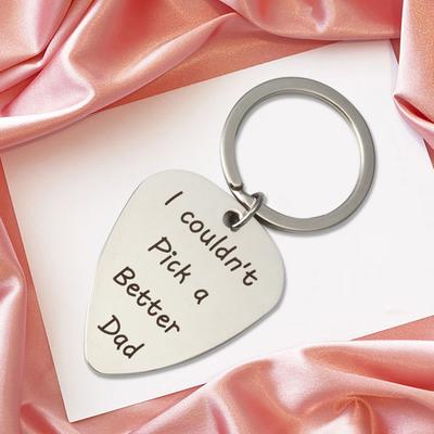 "Guitar Pick Plectrum Keychain/"" I couldn/'t pick a better Dad/"" Letter Pendant 8C"