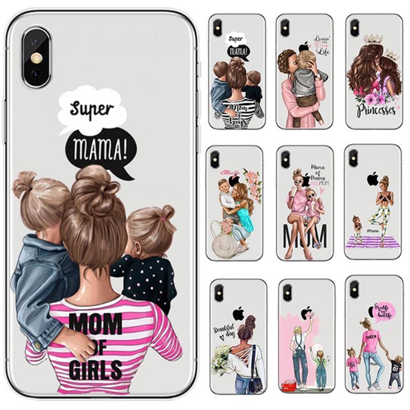 Moda marrone capelli Baby mamma ragazza regina Coque Shell telefono trasparente custodia Cover per IPhone