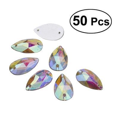 cc7485cbb2a0 50pcs 7 12mm Teardrop Shape Sew or Glue on Resin Crystals Flat Back  Rhinestone for