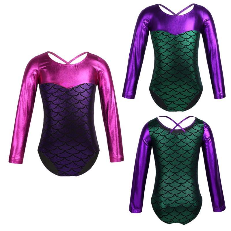 Kids Girls Metallic Shiny Ballet Leotard Gym Dancewear Sports Jumpsuits Bodysuit