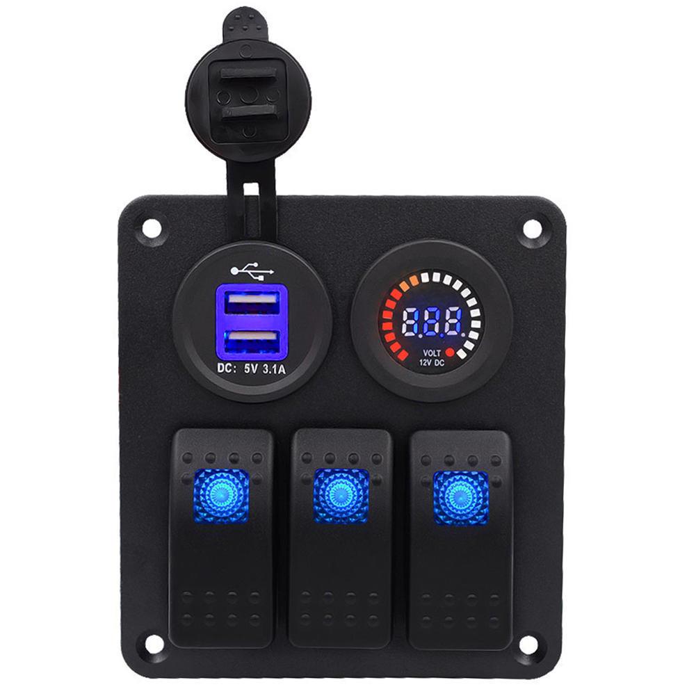 Auto/Boot 3PIN Multi-Funktions-Schalter Panel dual USB-Ladegerät ...