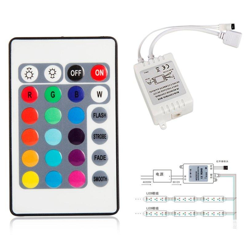 24 keys IR Remote Controller For 3528 5050 DC 12V Box RGB LED Strip Light