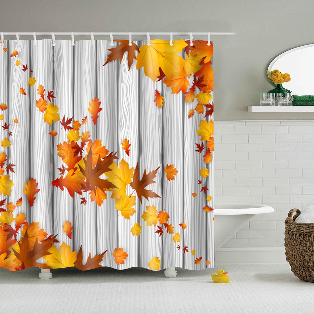 Maple Leaf Waterproof Bathroom Fabric Shower Curtain With 12 Hook Decoration