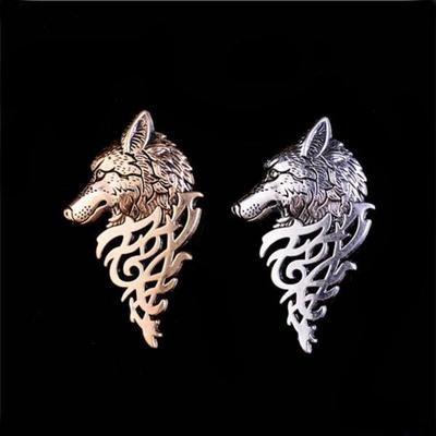 35c361d5e28 Men Fashion Wolf Brooch Pin Retro Metal Brooches Pins Hat Badge Collar  Jewelry