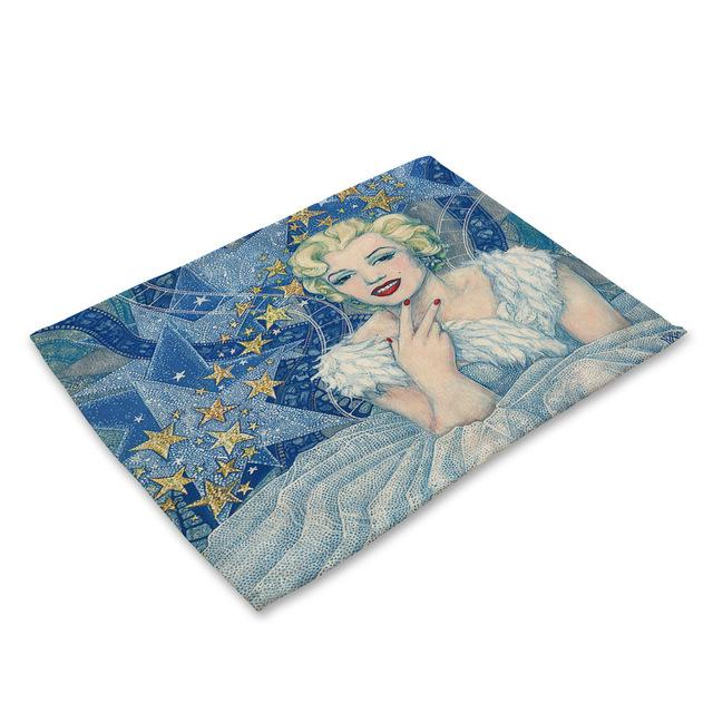 Celebrity Linen Placemat Marilyn Monroe Table Mat Hepburn Kitchen Dinner Table Mats Cup Coasters Buy From 4 On Joom E Commerce Platform