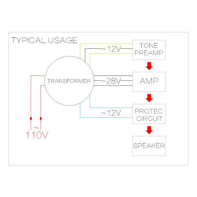 Dual Ac 28v Single 12v 200w Transformer for Preamp Amplifier Tone Board Used 5N