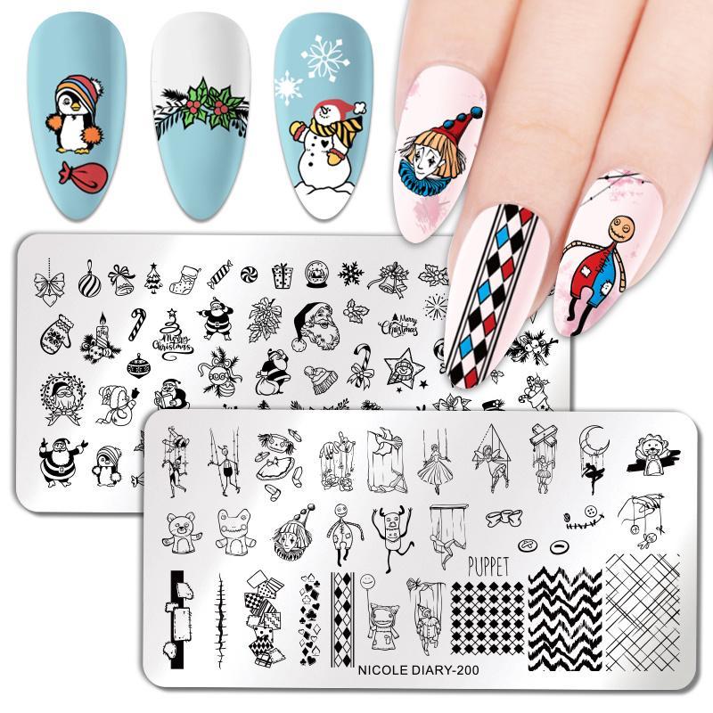 Тигр серии ногтей штамповки пластин снег серии ногтей штамп Зимний Stencil ногтей арт-инструмент – купить по низким ценам в интернет-магазине Joom
