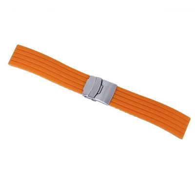 3ddf246b92e Orange Silicone Rubber Watch Strap Band Deployment Buckle Waterproof 20mm