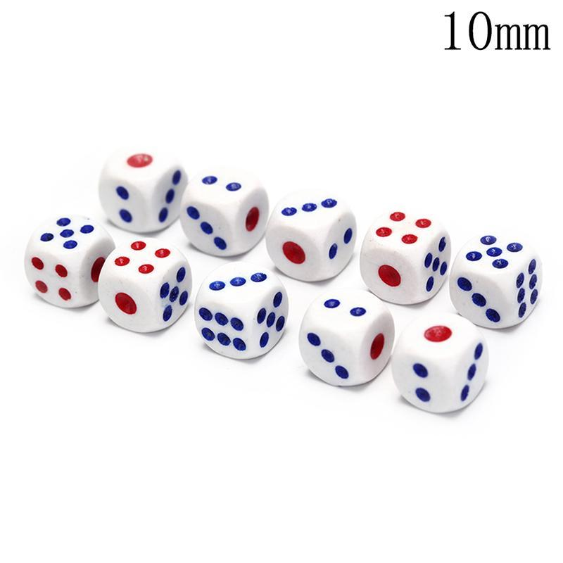 10Pcs D6 Polyhedral Dice Square Edged Numbers 6 Sided Dices Beads Table Board