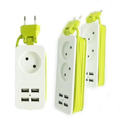 Smart Charger EU Plug 1.5M Extension Socket Outlet Power Strip with 4 USB AC Outlet