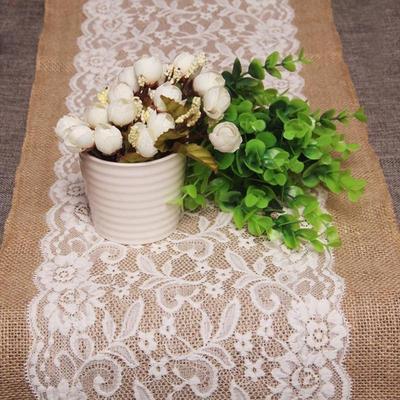 Hessian Ribbon Burlap Lace Table Runner Cloth Wedding Table