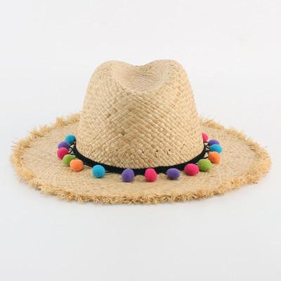 Colorful Pompon Tassel Straw Hat Elegant Ladies Summer Beach Hats Women  Wide Brim Sun Hat Cap d219850caffb