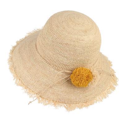 Sombreros de verano lindo Pompom bola flexible plegable franja ala rafia  paja sombrero señora chicas sol d0ae24ce6c2