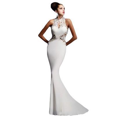 025281c5a1 Kobiety suknia wieczorowa Lace Halter Sexy Slim suknia bez rękawów wesela  Suknie panny młodej