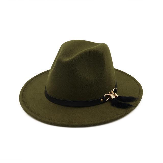 Moda todo el borde tapa sombrero para Laday hombres lana Panamá ... d82c8ebbfc9