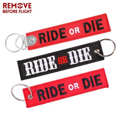 Nuclear Launch Key Chain for Motorcycles And Cars Gifts Tag Embroidery Key Fobs Holder Keyring Bijoux 1PC Never Ride FASTE