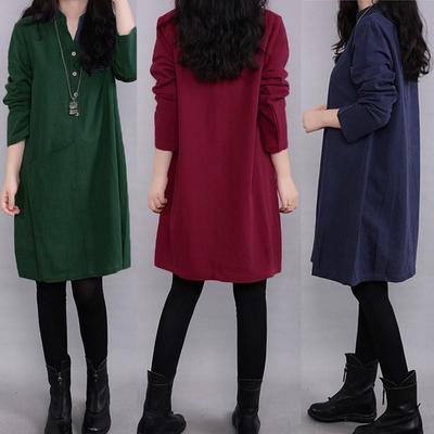 bc95e3b158 Nowość Kleid Robe Vintage Women Długi rękaw Sweter V Neck Tunika Party  Short Mini Dress Tops