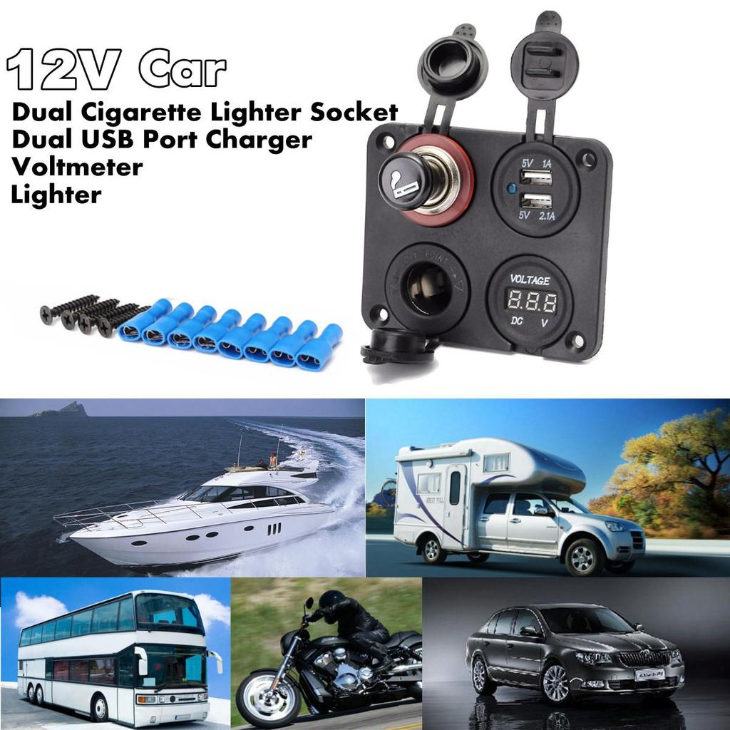 Marine Car Dual USB Port 5V 3.1A Power Charger Socket Outlet Mount Jack cable