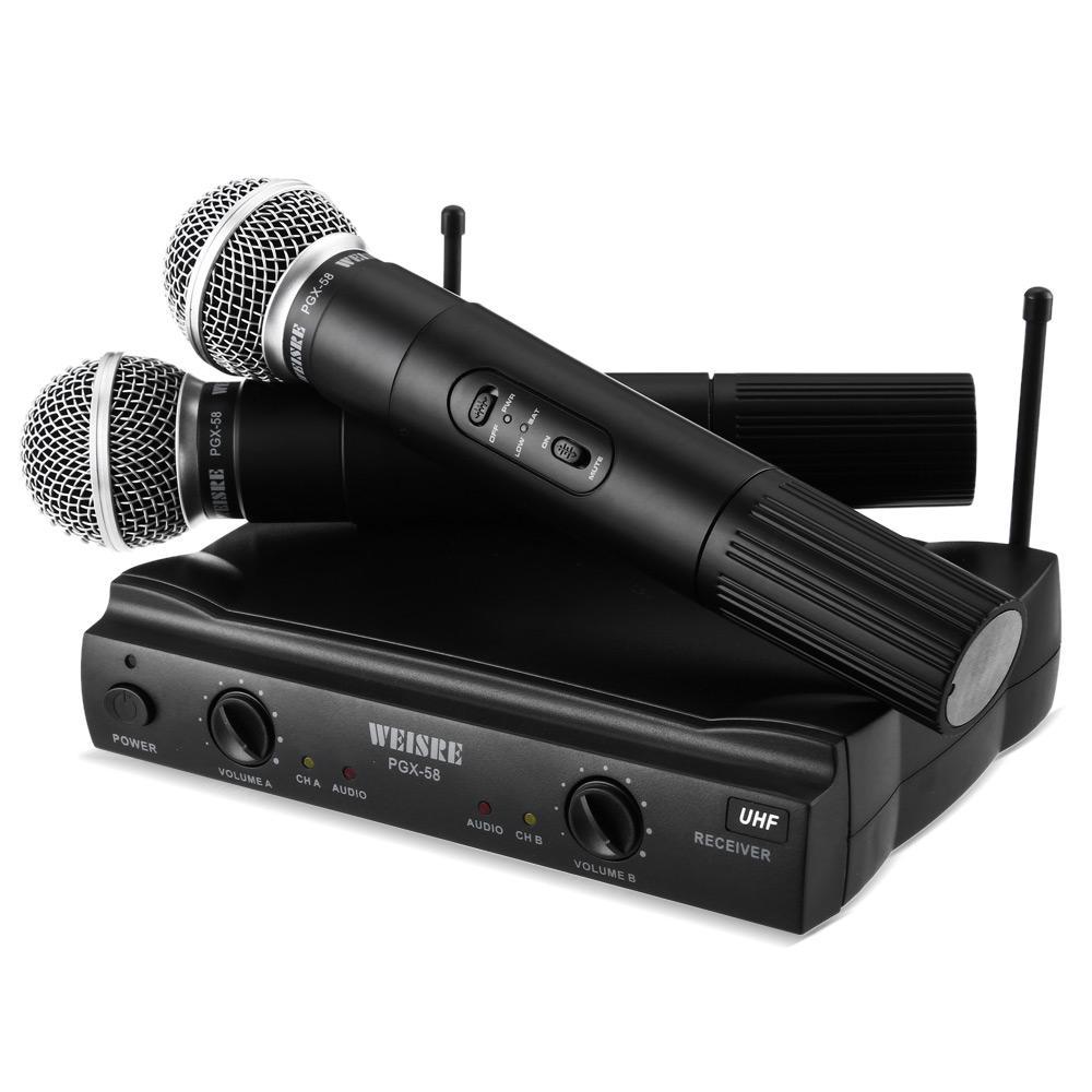 WEISRE PGX58 VHF Dual Wireless Mikrofon Mic System f/ür Karaoke Party KTV etc.