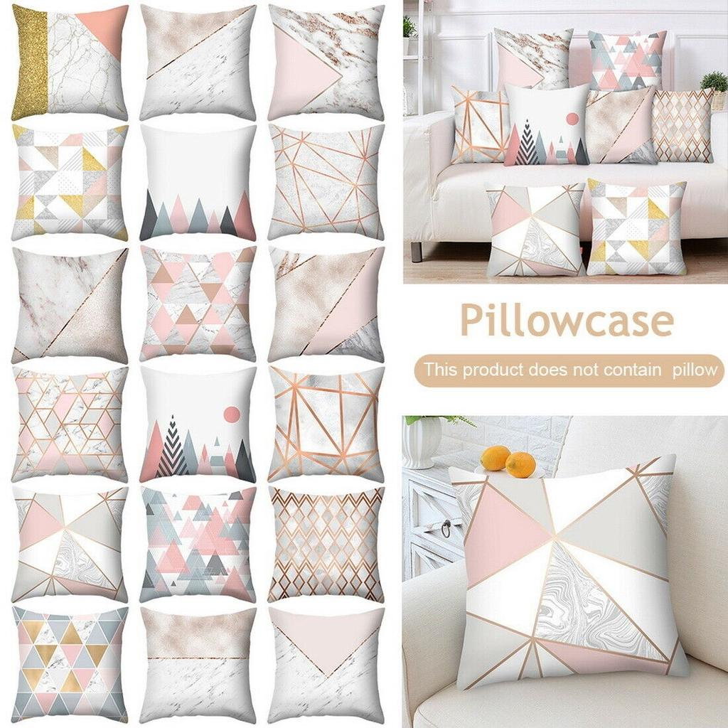 Rose Gold Cushion Covers Pink/&Grey Pillow Marble Geometric Decor Home Sofa CaseS