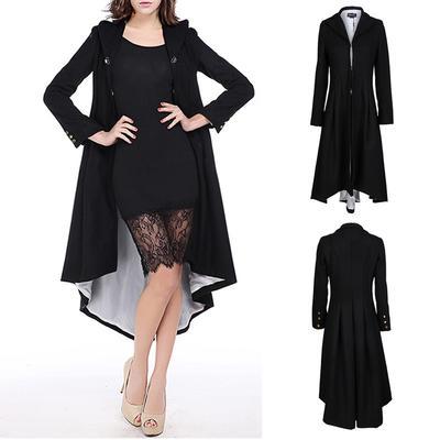 2145af6cc59 Пальто пальто зимние черный стенд воротник готический пальто элегантный  женщин старинные женские MAG SSE