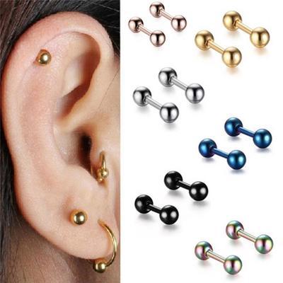 2-5mm Titanium Steel Barbell Ears Tragus Cartilage Helix Studs Earrings Piercing