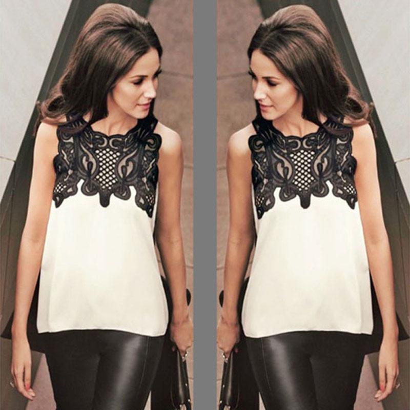 欧美时尚女装蕾丝雪纺拼接圆领无袖下摆前短后长上衣