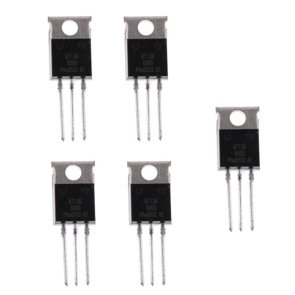 5 Pcs BT136 BT136-600E BT136-600 4A Triac 600V TO-220 GOOD Quality CK