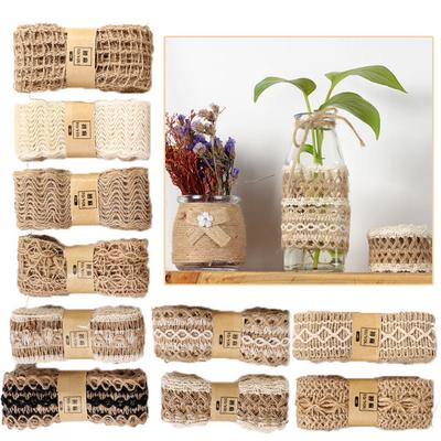 2 Rolls 2m Lace Burlap Hessian Rope Ribbon String for Gift Wrapping Craft