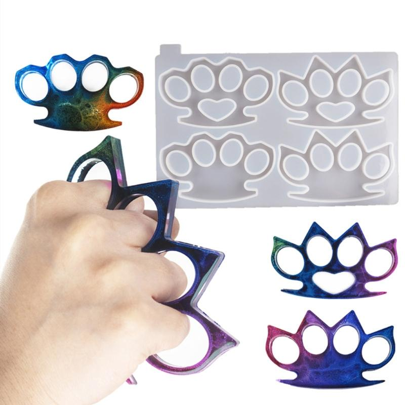 Brass Knuckles Silicone Epoxy Casting Molds with Keychain Rings for DIY Crafts Making 2-Pack Self-Defence Key Chain Endoto Resin Molds