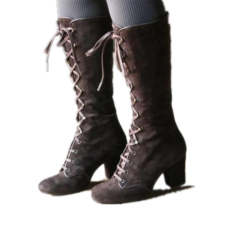 Womens winter over knee high boots buckle rivets chunky heel shoes us size