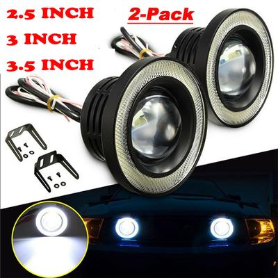 Projector Cob LED Fog DRL Spot Lights Angel Eyes Pair For BMW