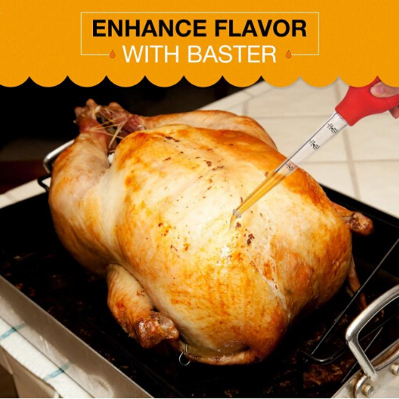 Useful Chicken Turkey Baster Clear Tube Syringe Pump Pipe Meat BBQ Food Flavour#