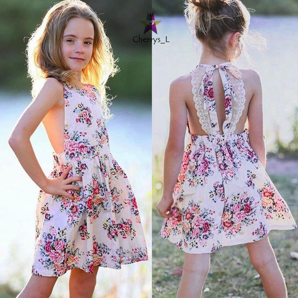 Toddler Infant Baby Girls Sleeveless Dress Floral Splice Yarn Layered Sundress