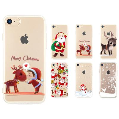 737adcf2defb65 Ultra-thin Soft Rubber Silicone TPU Christmas Festive Santa Reindeer Case  Cover for IPhone7 Plus
