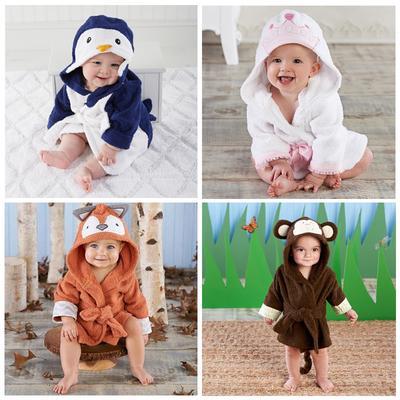 Lovely Baby Girls  Cartoon Hooded Bathrobe  Child Toddler Bathing Towel Robe