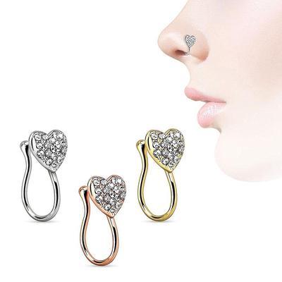 Unique Rhinestone Heart Fake Nose Ring Septum Piercing Nose Clip